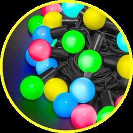 Гирлянда Navigator 61837 разноцветные шарики 8м IP44, эффект мерцания